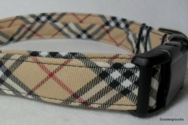 Classic Check Plaid Handcrafted Dog Collar -Great Look- Free Shipping- USA