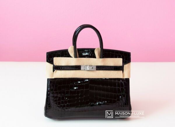 NEW HERMES BLACK NOIR SHINY CROCODILE PALLADIUM 25 BIRKIN BAG KELLY HANDBAG TOTE