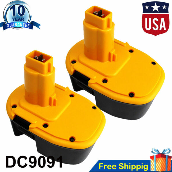 2 Pack 14.4V NI-CD Battery for DEWALT 14.4 VOLT DC9091 DW9091 DW9094 Power Tool