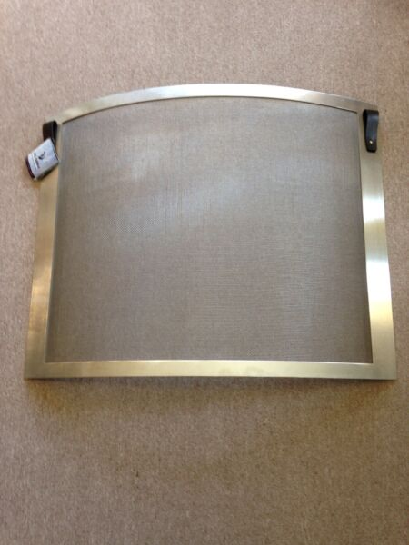 Pilgrim Bowed Fireplace Screen Stainless Steel Frame amp; Mesh with leather pulls