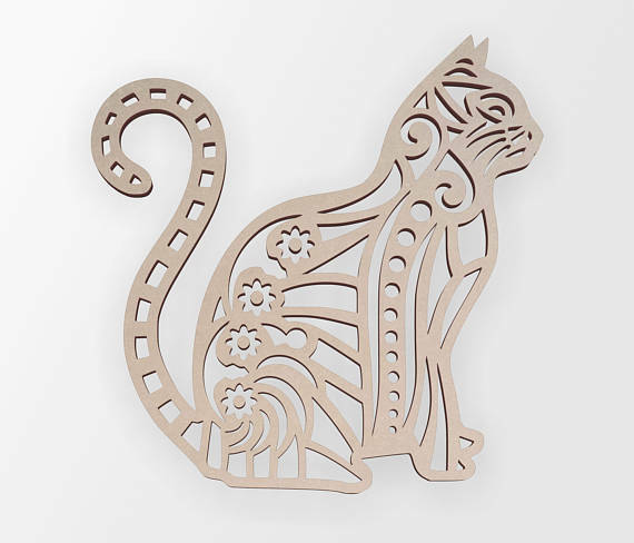 Wooden Shape Tribal Cat Wooden Cut Out Wall Art Home Decor Wall Hanging