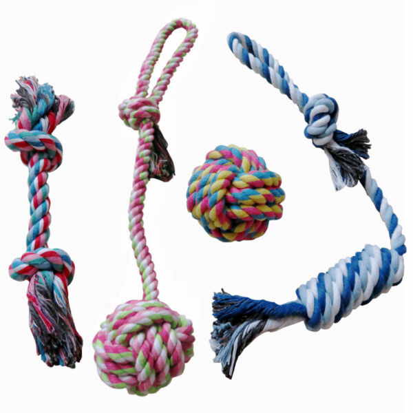 Dog Rope Toys for Aggressive Chewers Puppy Teething Rope Chew Toys Set of 4