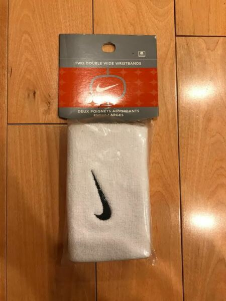 NIKE WRISTBANDS SWEATBANDS DOUBLE WIDE WHITE BLACK  AC0010-101