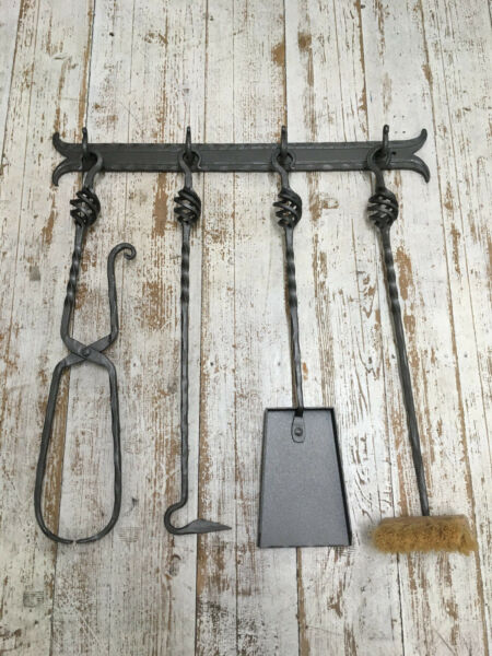 Hand Forged Fireplace 5 Pieces Tool Set Wall Hanging Stove Tools