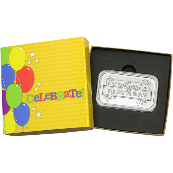 2018 Happy Birthday STARS 1oz .999 Fine Silver Bar (Celebrate Box)