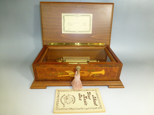 Rare Vintage Reuge Music Box 72  3 Beethoven Edition Burled Walnut Wooden Case
