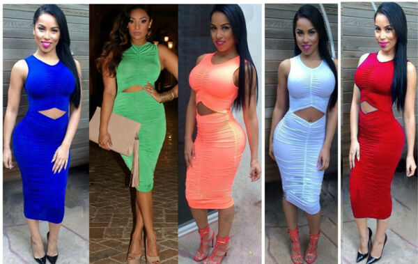 New Women Sexy Sleeveless Bandage Bodycon Evening Party Cocktail Dress #L3