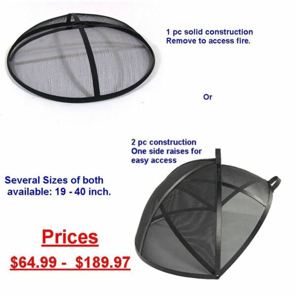 Replacement Fire Pit Metal Spark Screen Cover 19 21 22 24 25 30 31 36 40 Inch xx