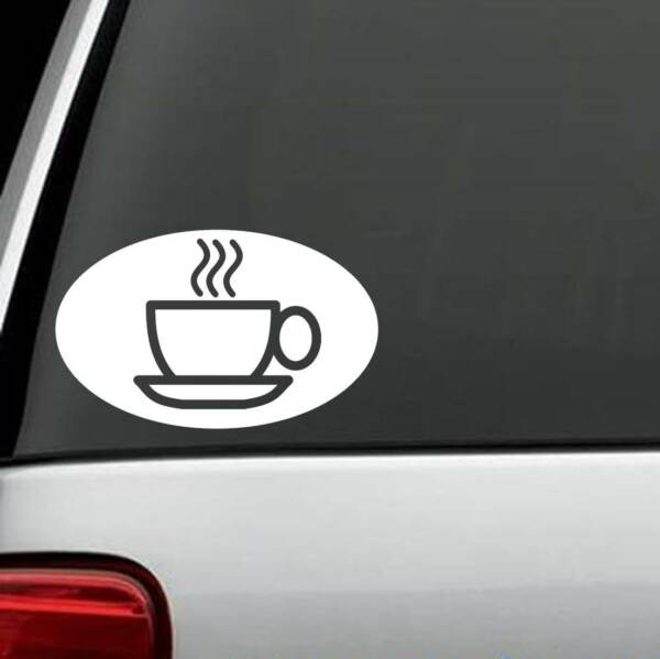 M1094 Coffee Cup Oval Decal Sticker Coffee Cup Java Barista Keurig Starbucks