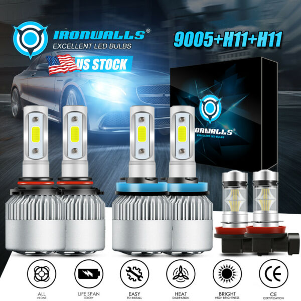 9005+H11+H11 Total 3900W IRONWALLS LED Headlights High Low Beam+Fog Light Bulbs
