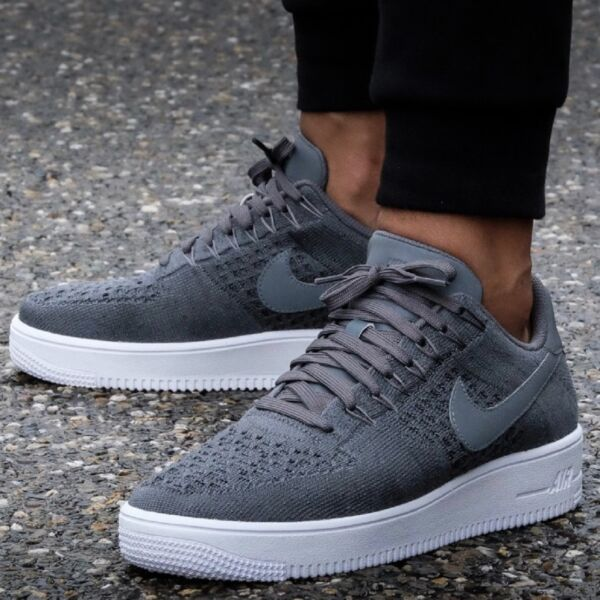 NIKE AIR FORCE 1 ONE ULTRA FLYKNIT LOW MEN'S COMFY SNEAKER Dark Grey - White
