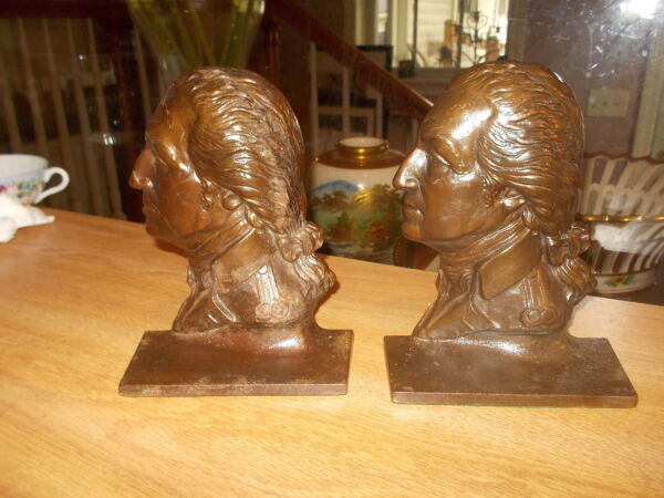 Pair Antique SARGENT Cast Iron George Washington Bookends