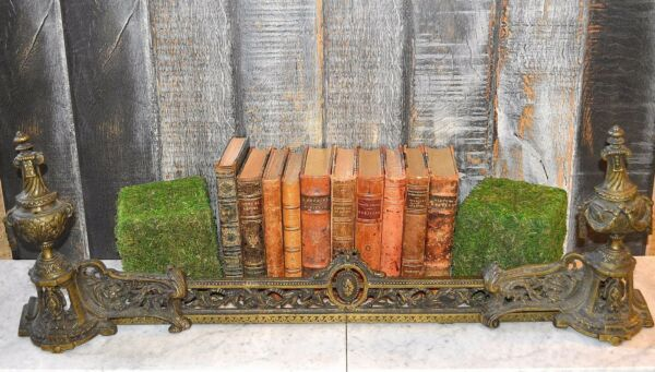 Antique French Bronze Fireplace Chenet Andirons Set Figural Faunes Urns Garlands