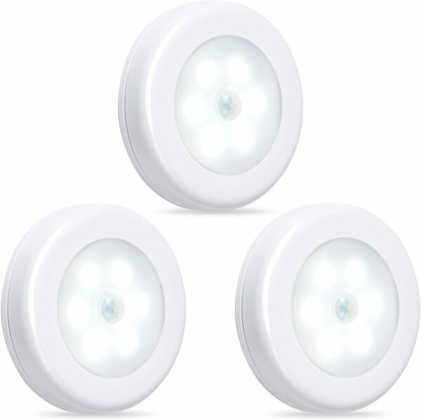 BN Link Motion Sensor LED Night Light Cordless Battery Powered 3 Pack Indoor Use