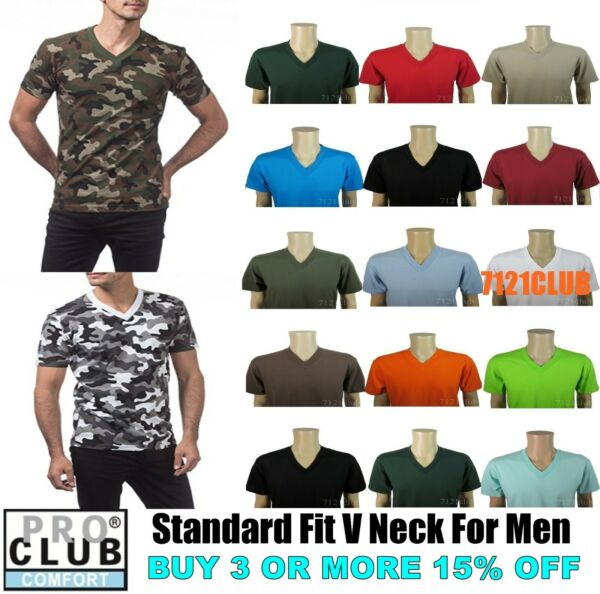 PRO CLUB V NECK T SHIRTS PLAIN MENS CAMO SHIRT PROCLUB SHORT SLEEVE BIG AND TALL $7.95