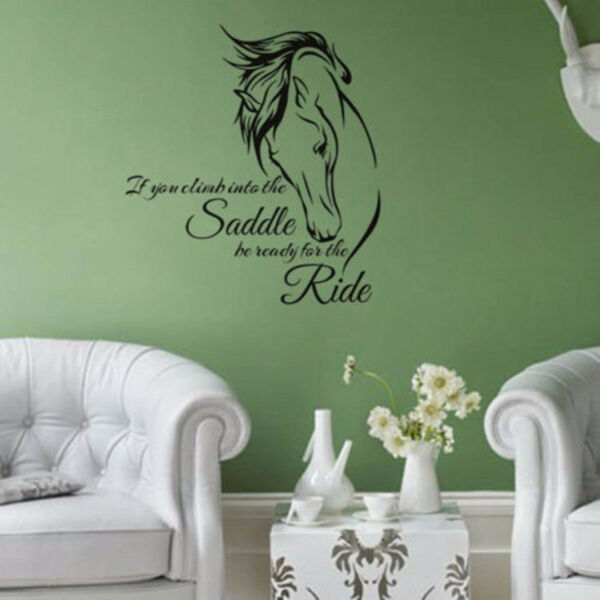 Horse Stickers Wall Decal Saddle Ride Living Room Wall Home Decor Sayings New