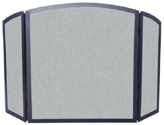 UniFlame 3 Panel Black Vintage Iron Screen with Continuous Arch 801573