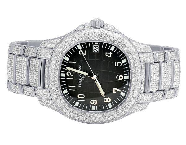 Mens Patek Philippe Aquanaut 51671a Steel Pave Set VS Diamond Watch 21.5 Ct