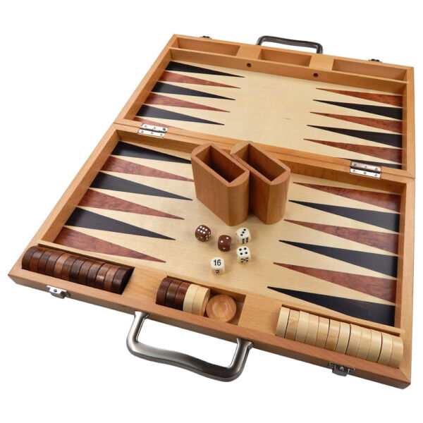 Duko Backgammon LARGE 17 Inch Game Set Inlaid Wood Suitcase Board Pieces New