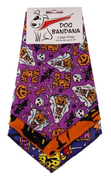 Dog Bandana Tie on Triangle Halloween for Large Dog Fit Neck up to 24#x27;#x27; 3 Pack $13.45