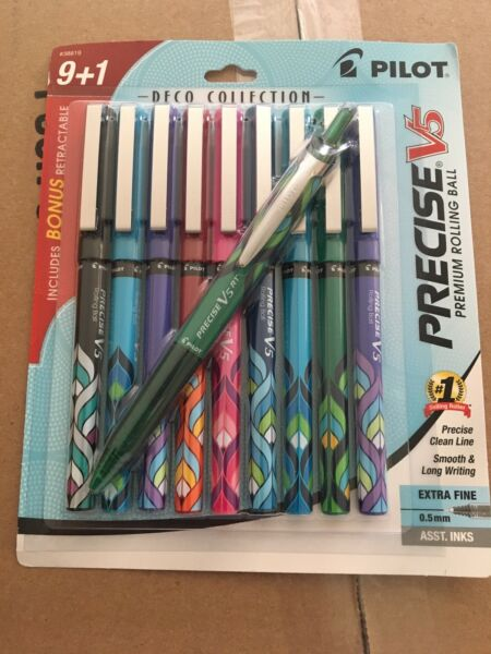New! PILOT Precise V5 Deco Collection 9+1 Rolling Ball Pens Extra Fine Point