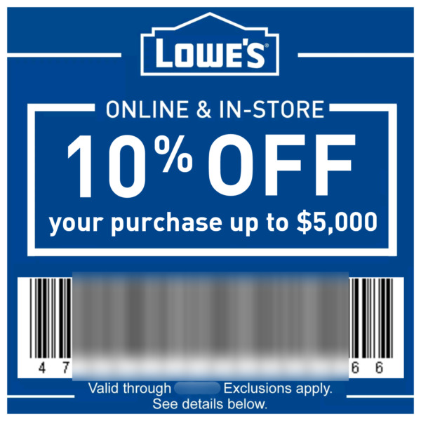 LOWES 10% Off In-Store & Online Discount up to $500 - Instant Delivery e11/30/17