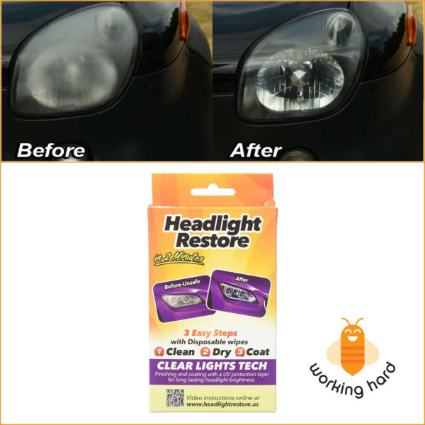HEADLIGHT LENS WIPES Car Truck Lights UV Protection Cleaning Restoration Kit