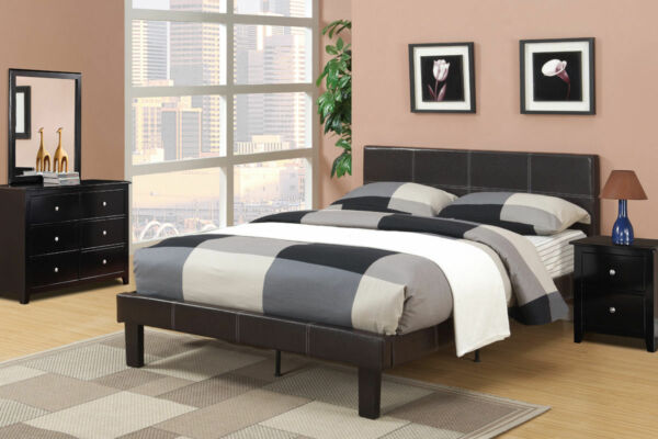 Modern Bedroom Decor 4 Piece Set Faux Leather Full Bed Mirror Dresser Nightstand