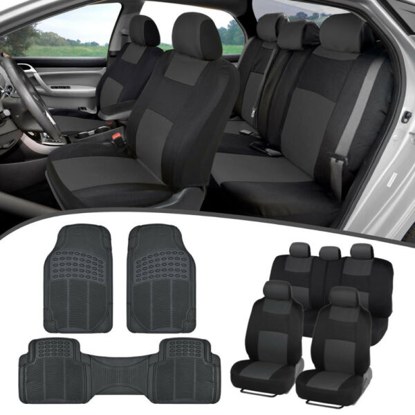 Car SUV Seat Covers for Auto amp; All Weather Rubber Floor Mats Full Interior Set $39.50