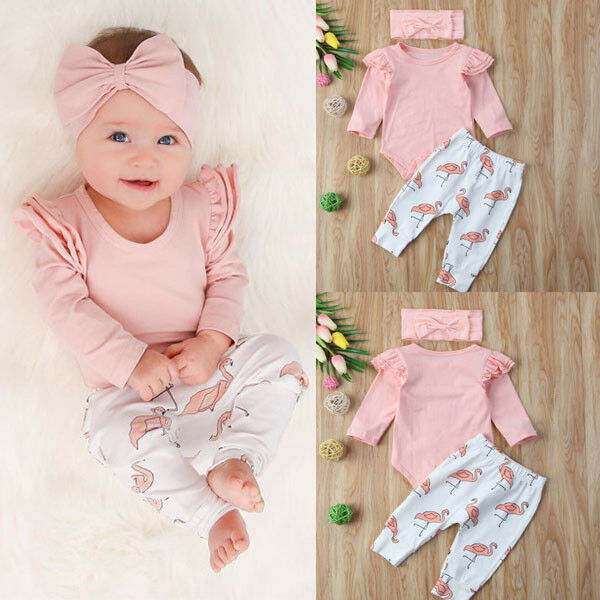 0-18M Newborn Baby Boy Girl Romper Pants Bodysuit Legging Outfit Set Clothes
