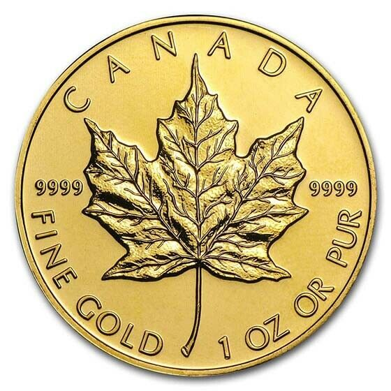 1 oz Gold Canadian Maple Leaf Coin Random Year BU - SKU #87709