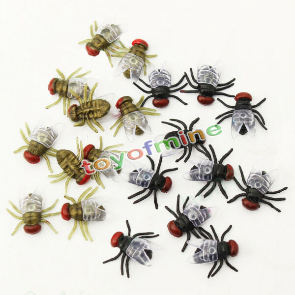 10 x Joke Black Flies Bug Funny Prank Novelty Life Like Fake Plastic Toy