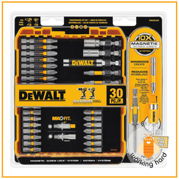 MAGNETIC SCREWDRIVER BIT LOCK SET Dewalt Impact Drill Driver Bits Screw 30 PIECE