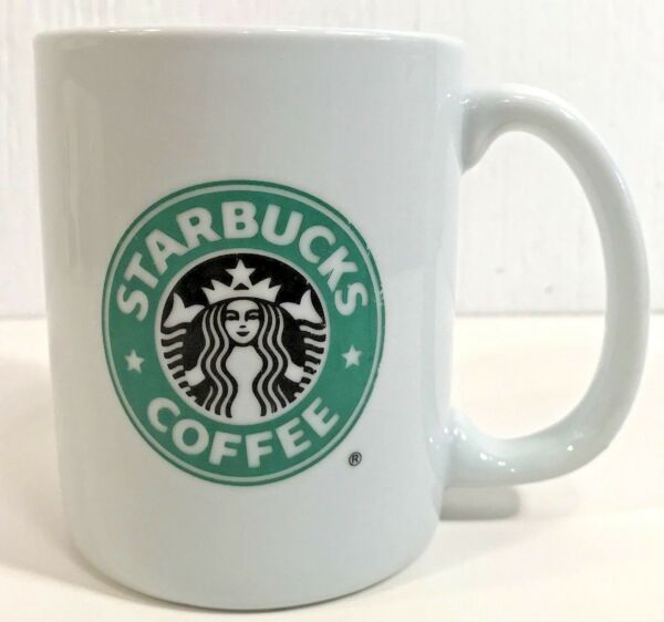 Starbucks Coffee Mug Green White Black Mermaid Logo Made Exclusively For Vintage