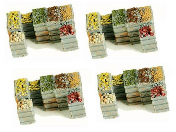 Produce Crates 4 Pack filled with fresh Produce for vending scenes O Scale set