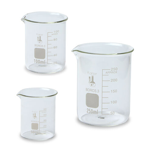 Glass Beaker Set - 3 Sizes - 50, 100 and 250ml, Karter Scientific 214T2