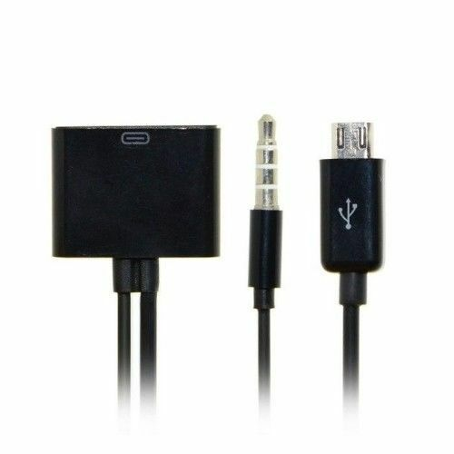 iPhone Dock 30pin Female to Micro USB 5pin Male Charger w 3.5mm Audio Cable