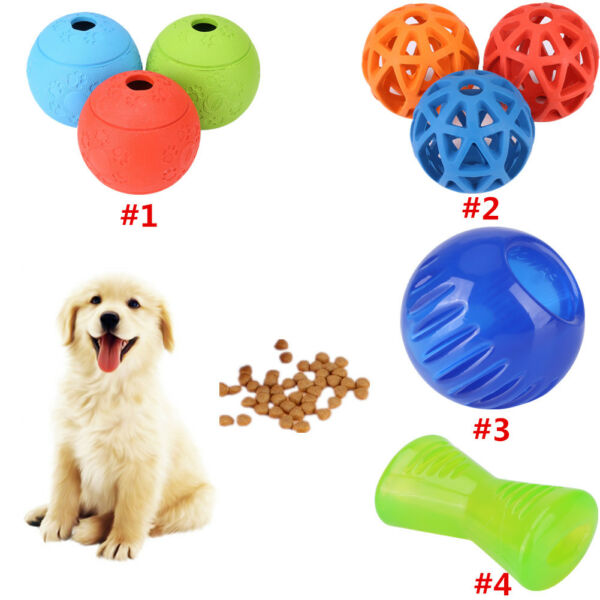 Pet Dog Cat Puppy Treat Food Dispenser Chew Bounces snack Ball Activity Play Toy