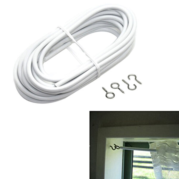 NET CURTAIN WIRE WINDOW CORD VOIL EXPANDING CABLE CLIPS WITH  HOOKS