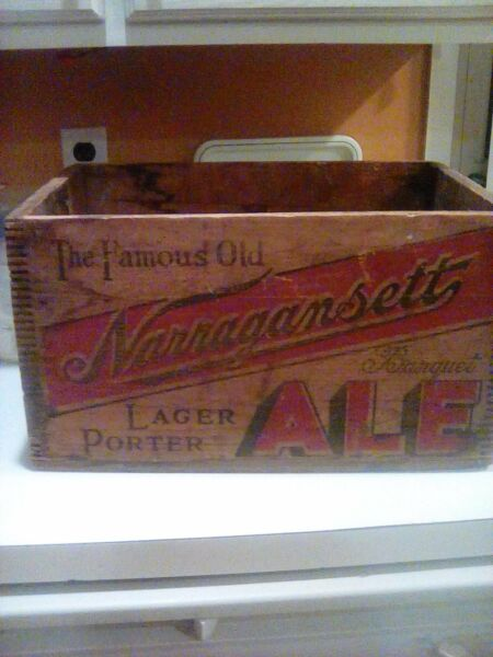 ANTIQUE NARRAGANSETT ALE BEER WOOD CRATE