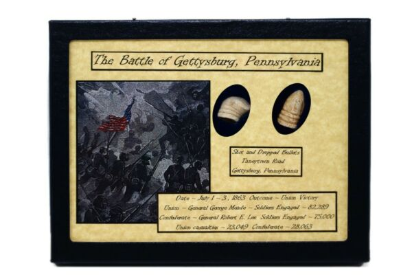 Dropped amp; Shot Civil War Bullets from Gettysburg in Matted Display Case with COA