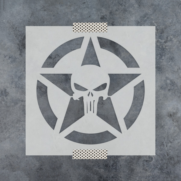 Punisher Skull Star Stencil - Reusable Stencils of Punisher Skull Star