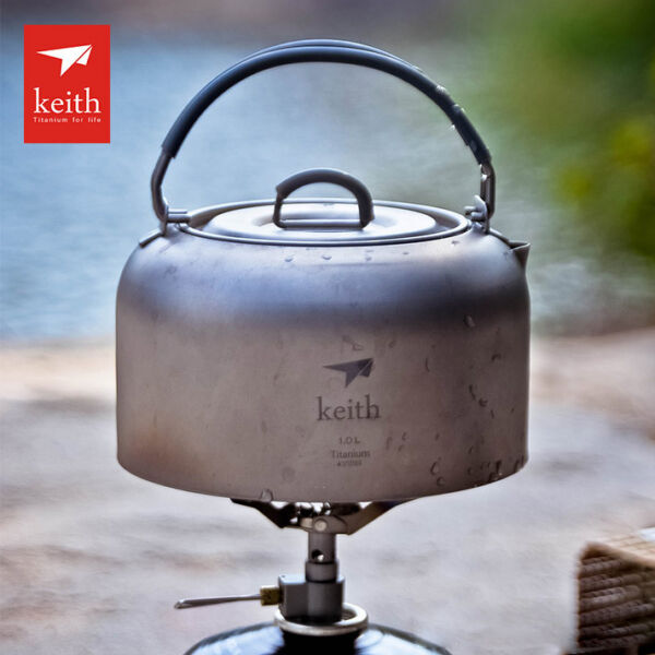 1L115g Titanium Outdoor Camping Cooking Survival Pot Water Kettle Teapot Coffee