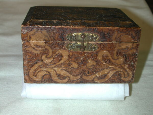 Vintage Hand Carved Wooden Box Flowers wbrass Hinges blue lining stamped Newins