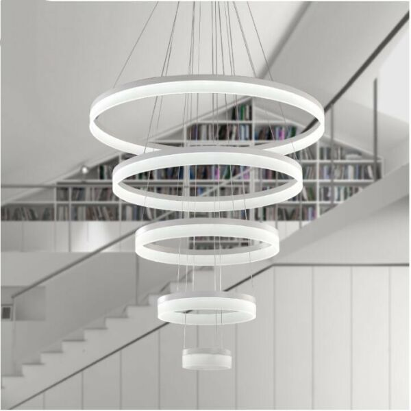 567 led Rings Modern villa living room Big chandelier hotel circle stair Light
