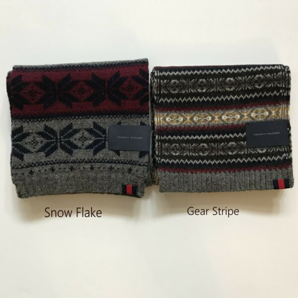 NWT Tommy Hilfiger Tommy Men Wool blend Scarf Snow Flake New $37.98