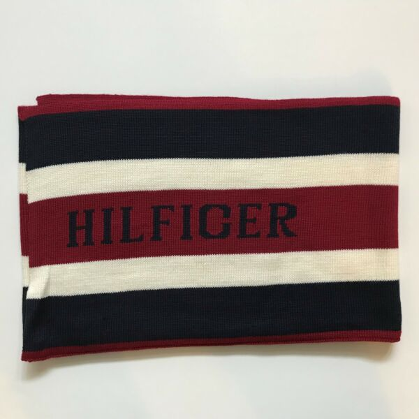 NWT Tommy Hilfiger Tommy Men Wool blend Scarf Blue Red White Stripe New $44.98