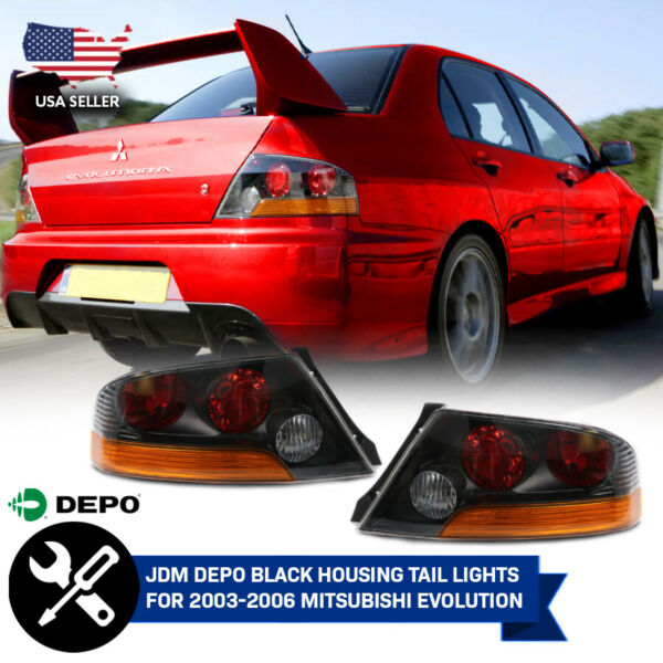 DEPO JDM Pair Red/Amber Tail Light For 03-06 Mitsubishi Lancer Evo Evolution 8/9
