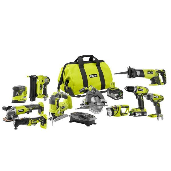 Cordless 10 Tool Combo Set Kit ONE+ 18-Volt ULTIMATE Lithium-Ion Drill Impact
