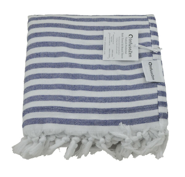 Navy Blue and White Nautical Terry Backed Turkish Peshtemal Beach Bath Towel